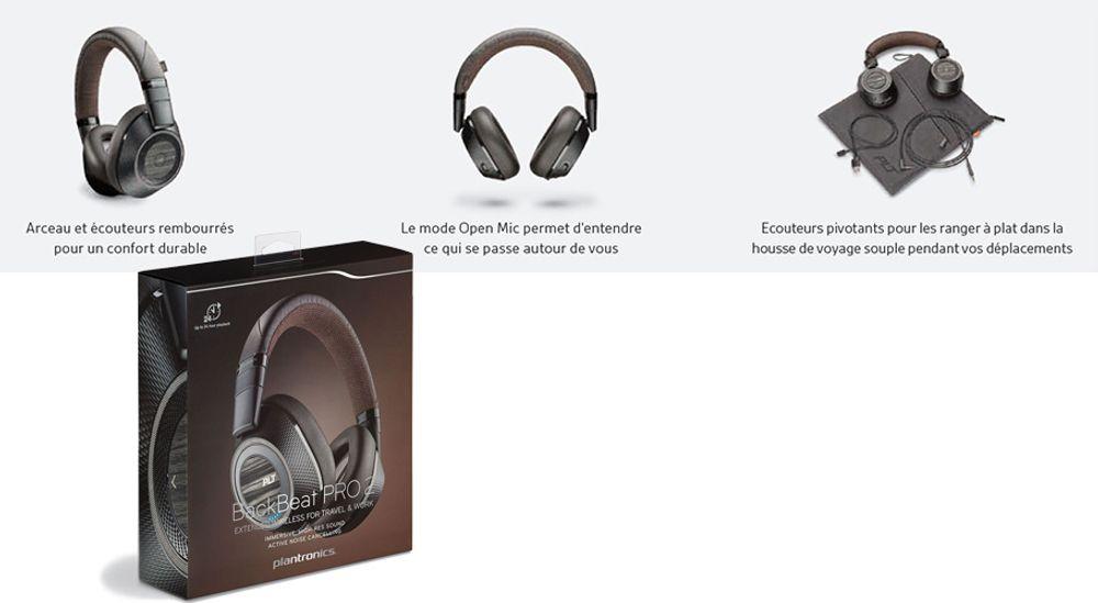 Casque nomade circum-aural Bluetooth® v4.0 classe 1 - PLANTRONICS® BackBeat PRO 2