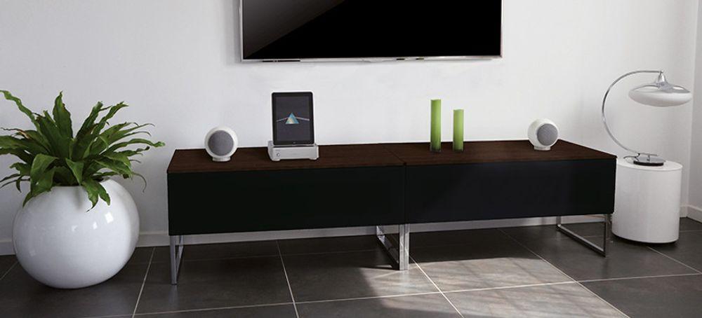 Norstone khalm 140 noir meubles et pieds tv for Meuble tv haut noir