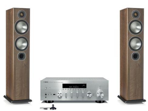 Yamaha R-N803D Silver + Monitor Audio Bronze 5 Noyer