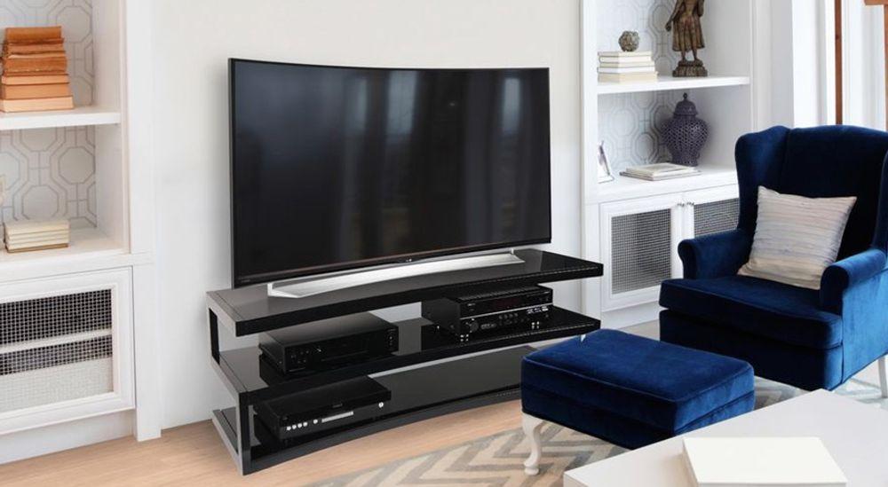 Meuble TV courbé pour écran TV incurvé jusqu'à 60 pouces et 80 Kg - NORSTONE ESSE CURVE